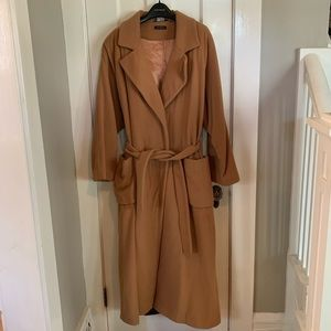 HILARY RADLEY Vintage Cashmere Belted Wrap Coat